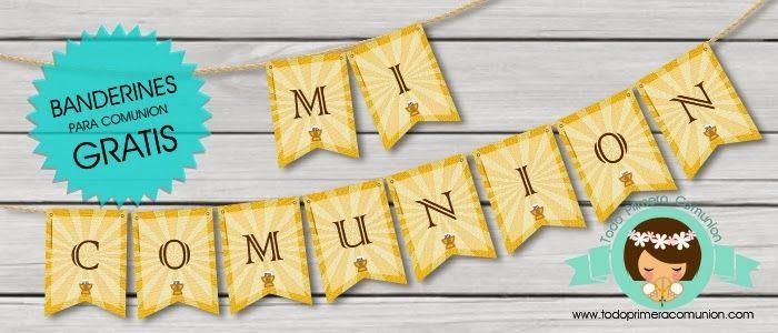 Imprimible Gratis: Banderines para Comunión   Todo Primera Comunión