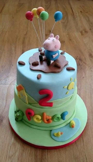 George Pig tiered birthday cake