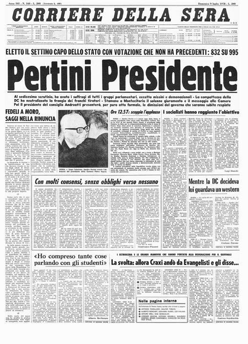 8 luglio 1978, sale al Colle Sandro Pertini