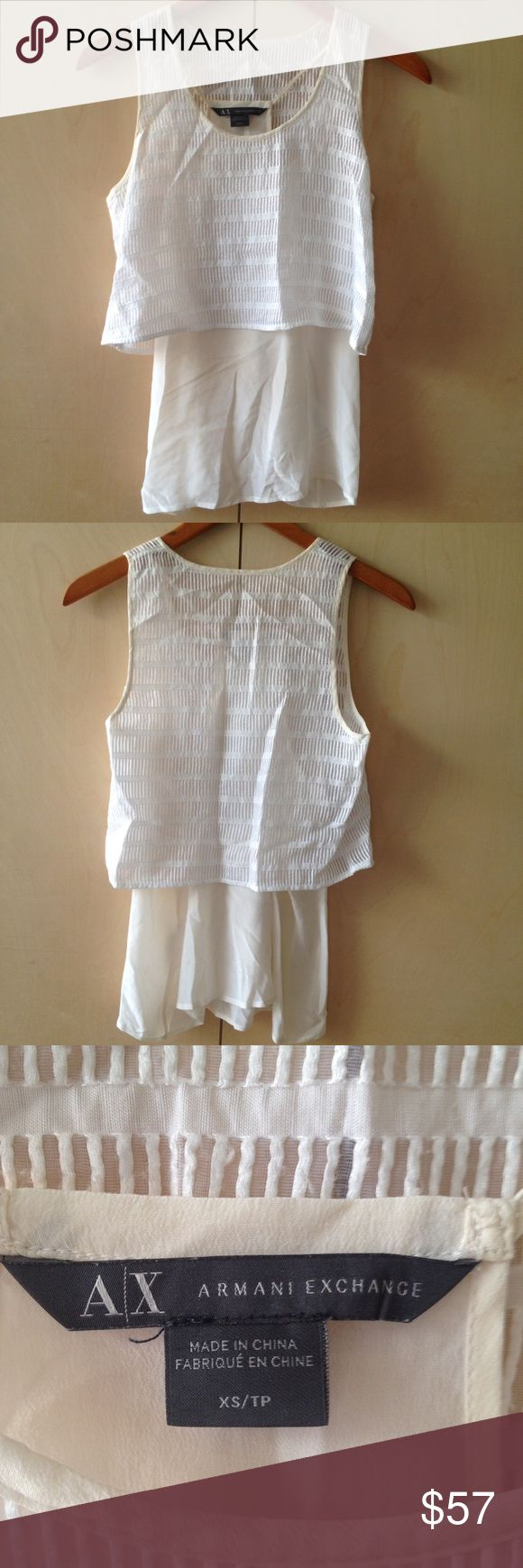 Armani Exchange XS lined flowy crop tank silk Armani Exchange XS lined flowy crop tank mulberry silk white and cream with texture A/X Armani Exchange Tops Tank Tops