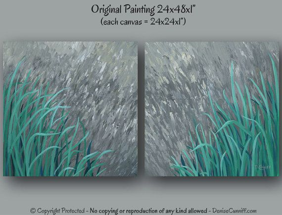 Teal Green Wall Decor : Large wall art abstract landscape painting teal home