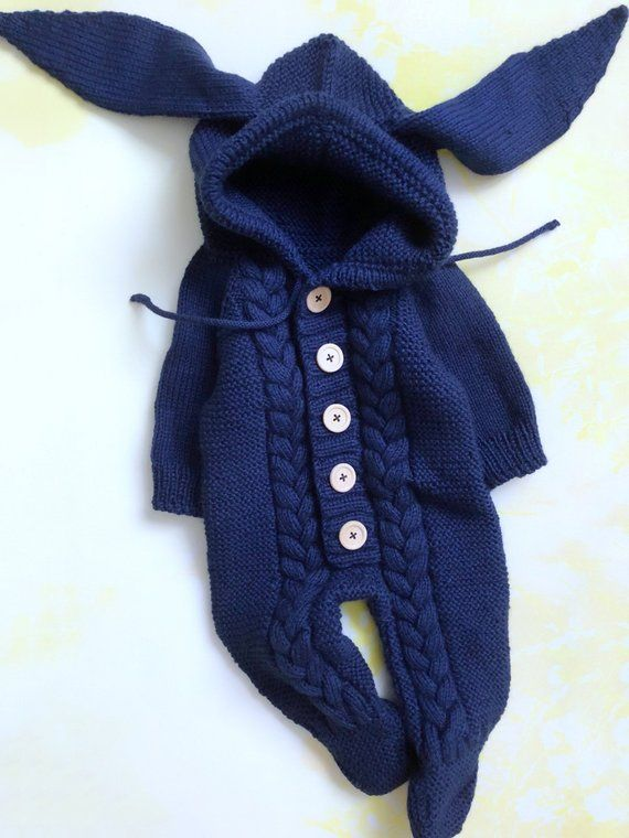 82ec79d2d8e OnePiece Blue Newborn Winter Bunny Ears Hooded Onesie Boy Infant Clothes  Warm New Baby Jumpsuit New