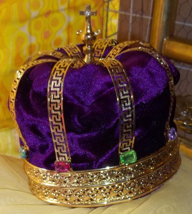Purple Velvet Jeweled Kings Crown