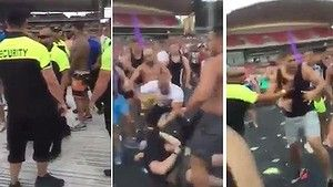 Footage has emerged of a wild brawl at a Sydney music festival in which a man was shown being punched on the head and knocked unconscious.