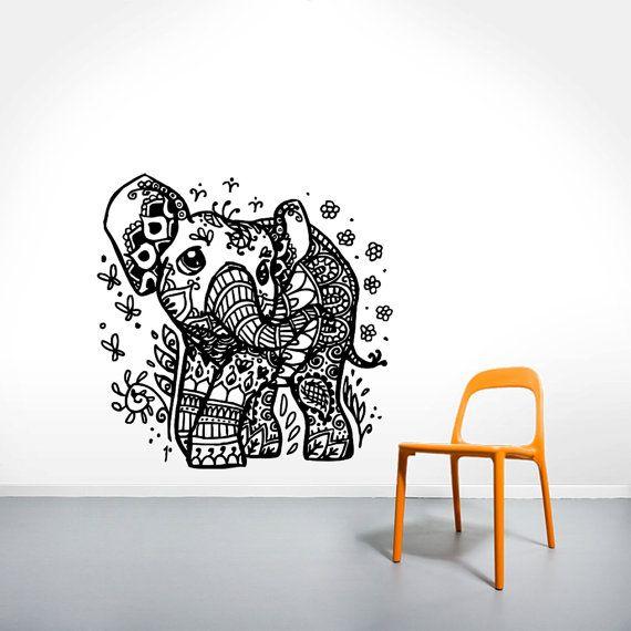 Elefante indiano muro decalcomanie - motivo floreale parete vinile adesivo decalcomania - Home Interior Decor - muro - casalinghi arte vinile adesivo decalcomania COS22
