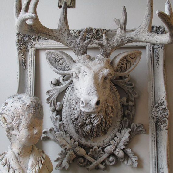 Faux Buck Elk Head Wall Mount French Nordic Ornate White