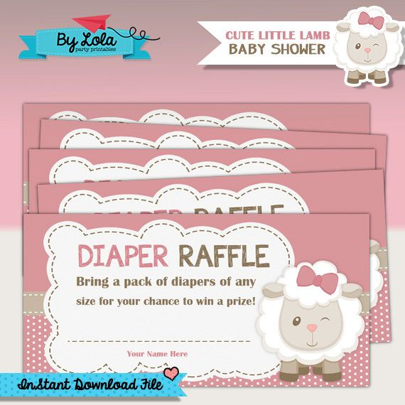 Instant Download - Cute Little Lamb Baby Shower Diaper Raffle - Sheep Baby Shower Game - Printable PDF File by ByLolaPrintables