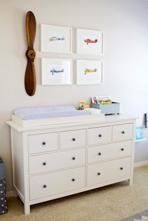 """"" Oliver's Light & Bright Nursery – Project Nursery """" Modern, Minimalist Airplane Nursery – love the sweet, simple styling! Baby Bedroom, Baby Boy Rooms, Baby Boy Nurseries, Nursery Room, Kids Bedroom, Themed Nursery, Vintage Baby Boy Nursery, Boy Nursery Art, Vintage Airplane Nursery"