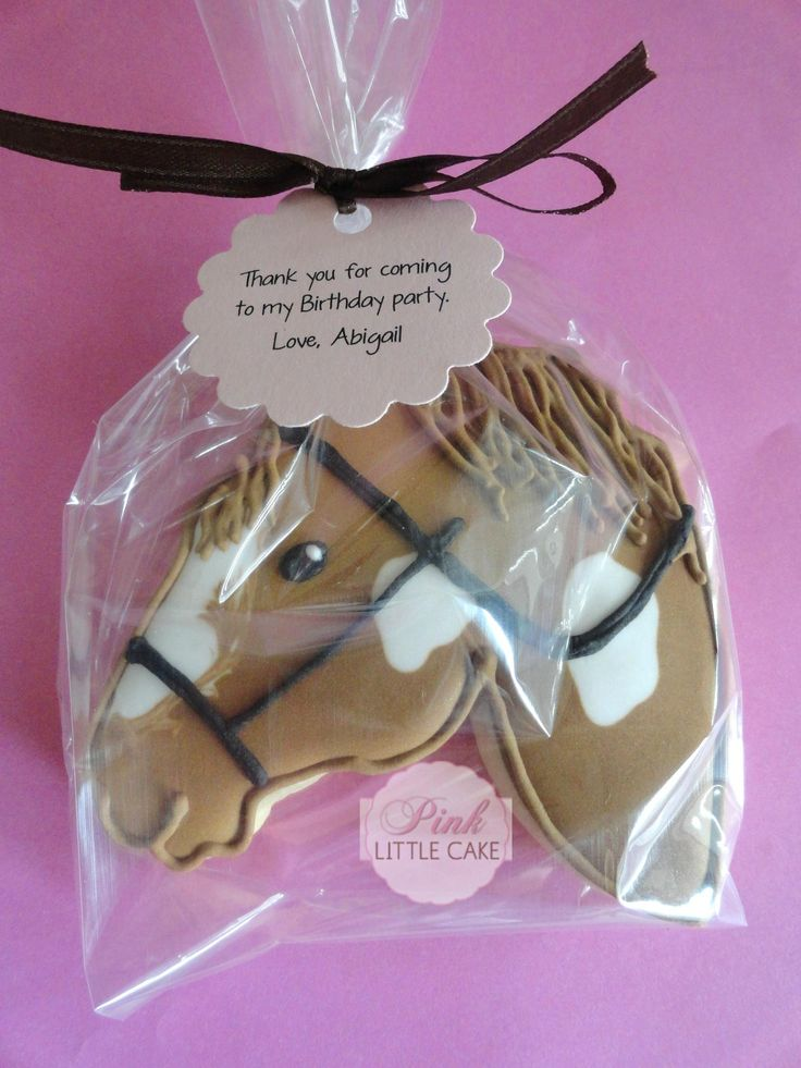 Horse / Pony Head Decorated Sugar Cookies for birthday party favors. Galletas decoradas.