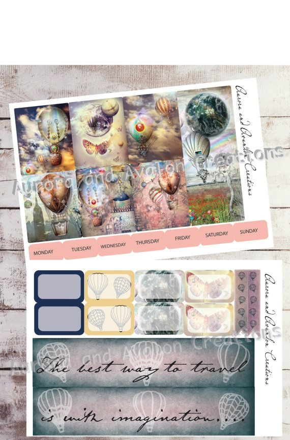 Hot Air Balloons by Aurora for Erin Condren and Happy Planner weekly kit