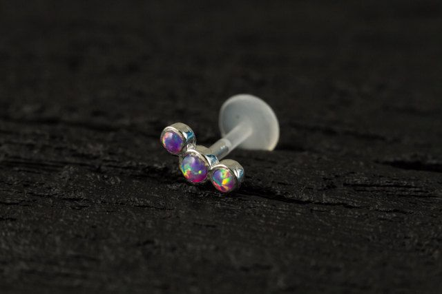 Purple Opal 3 stones curved push in 16g bio flexible tragus / cartilage / conch ear piercing by PiercingRoomByJay on Etsy