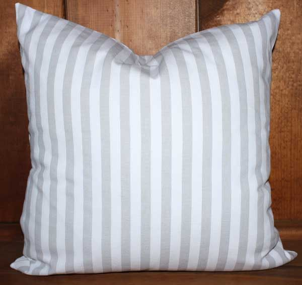 Farmhouse Gray Striped Woven Cotton Removable Decorative Throw Pillow Cover