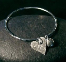 Genna Miller Silver Heart and Nugget Bangle GEN-GMCBG