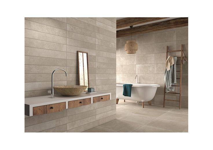 Stoneville Earth: beau carrelage mural et sol qui crée une ambiance chaleureuse dans votre salle de bains. Très tendance en teintes naturelles.