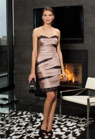 Picture of Satin Tiered Dress, Mocha Bridesmaid Dresses, Short Black Lace Dress