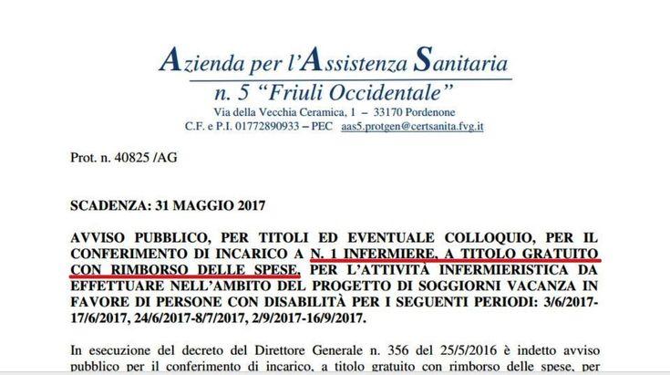 Friuli, avviso pubblico per un infermiere A TITOLO GRATUITO! - Seguici su nursetimes.org - Giornale di informazione sanitaria - #NurseTimes
