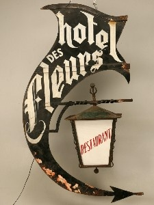 Adore this sign... Vintage French Hotel and Restaurant Sign and Light