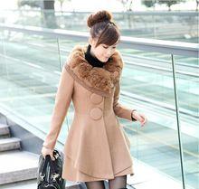 Novo 2016 Inverno Gola de Pele de Lã Casaco Blusão de Lã Caxemira Das Mulheres Casaco Jaqueta de Inverno Das Mulheres do Sexo Feminino Plus Size casaco(China (Mainland))