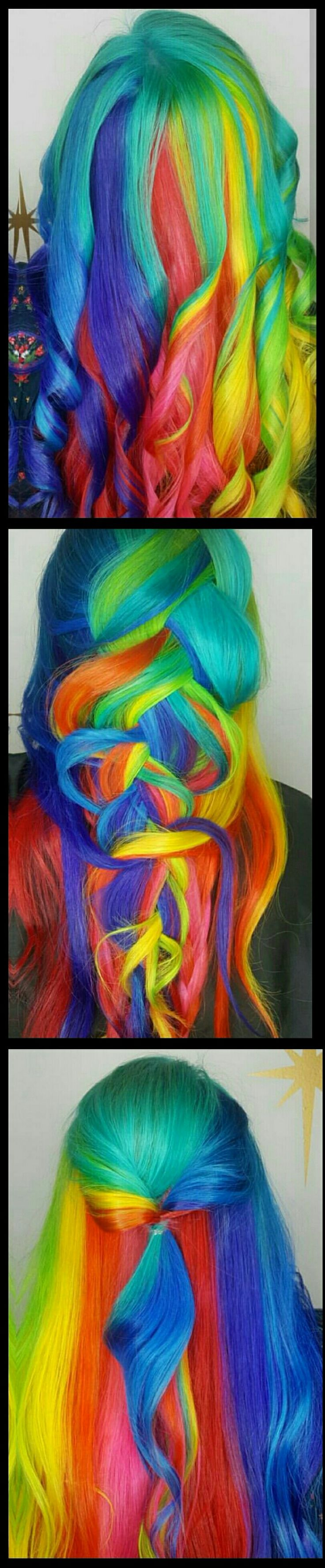 Rainbow dyed hair @hairbymisskellyo