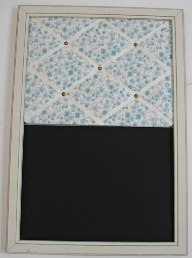 Great idea, combinding a gorgeous fabric notice board with a pratical chalk board xx