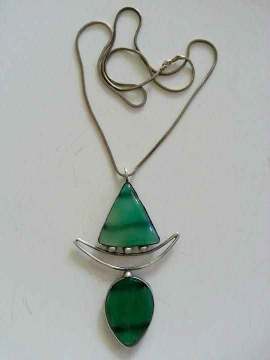 Green Agate stone 925 sterling silver necklace is made by Berrin Duma.
