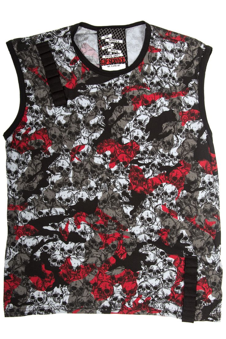 "LIP SERVICE Fatal Fatigues ""Conflict"" sleeveless shirt #M56-018"