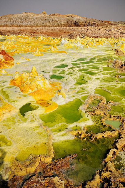 Ethiopia, Dallol volcano, a fascinating, not-of-this-world resembling place, located in the Danakil Depression in Ethiopia, one of the hottest places on earth.