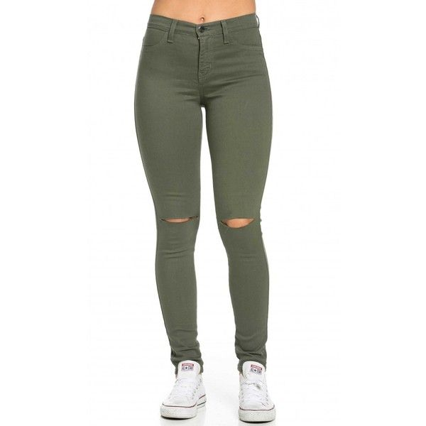 High Waisted Knee Slit Skinny Jeans in Olive ($40) ❤ liked on Polyvore featuring jeans, bottoms, pants, denim skinny jeans, army green skinny jeans, high-waisted skinny jeans, white jeans and white stretch jeans