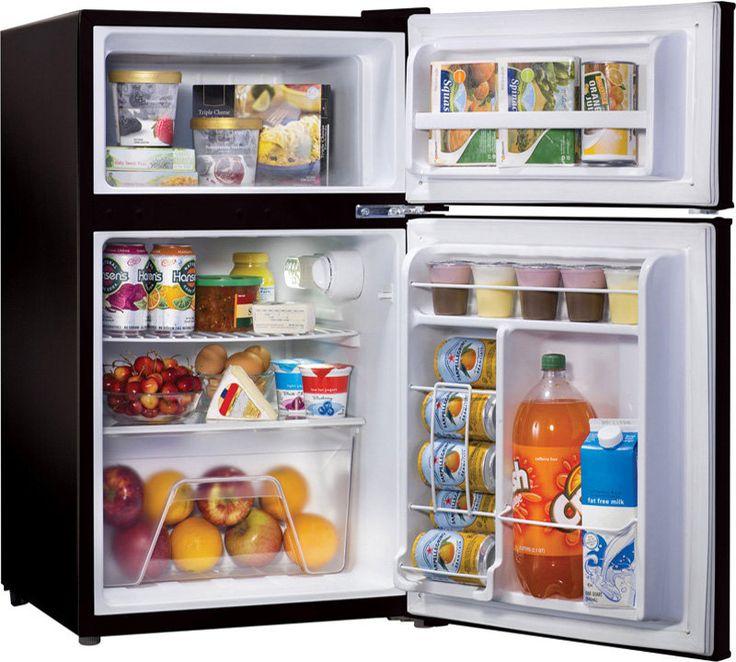 Compact Mini Fridge w/ Top Freezer ~ Retro Dorm Food Ice & Beverage Refrigerator