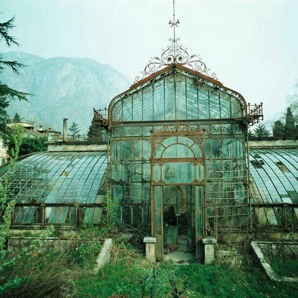 Abandon the Victorian style green house Villa Maria northern Italy