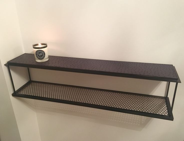 Contemporary wallmounted shelf for the living room, bed room or...   Steel and leather for him & her.