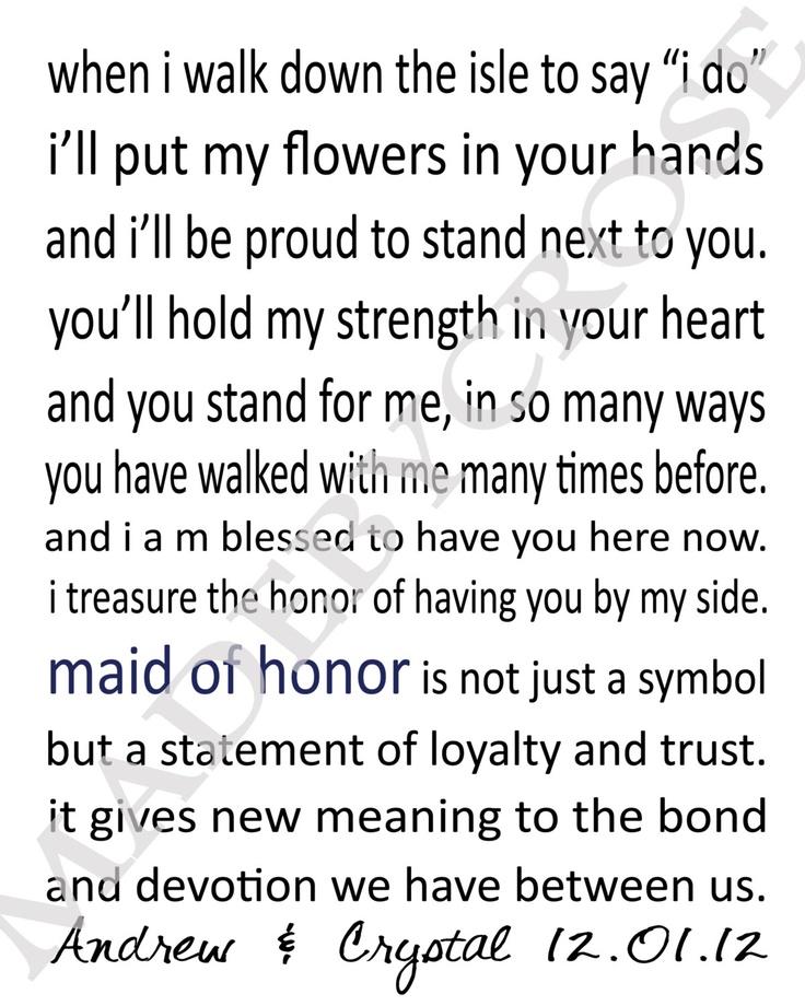 Wedding Maid of Honor Printable / PDF