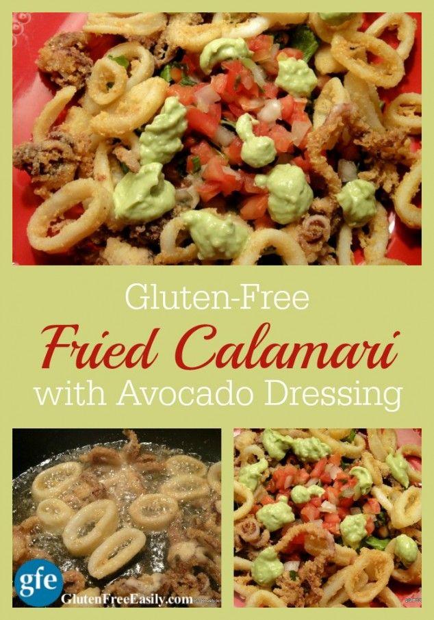 Fried Calamari with Pico and Avocado Dressing Plus Pina Coladas