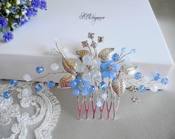 Crystal Wedding Comb Blue Opal Hair Comb Bridal Hair Comb Crystal Wedding Hair Comb Something blue Bridal Hair Accessories Wedding Hair Comb