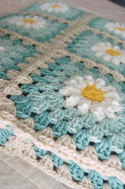 "FREE CROCHET PATTERN Daisy Granny Square pattern by tillie tulip 1 [   ""FREE CROCHET PATTERN Daisy Granny Square pattern by tillie tulip (I wonder if u replace some of the flowered squares with different solid color grannies using the 2 different blues how that would look?"",   ""Daisy tutorial and adding rounds to the daisy to create a granny square."",   ""Would work great with Caron super soft pinks or blues"",   ""The world's catalog of ideas"",   ""This is so pretty too!"" ] #<br/> # #Granny…"