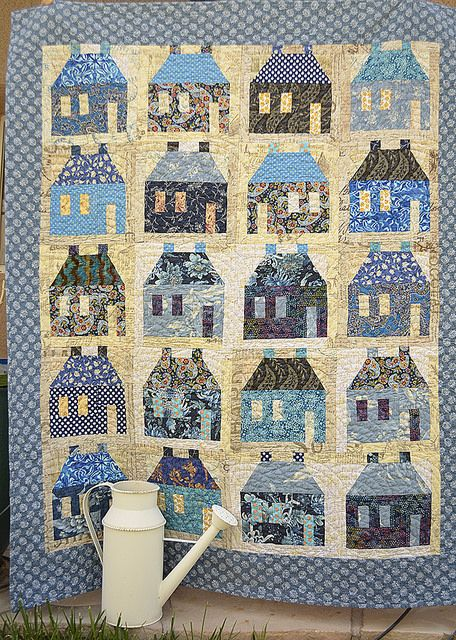 Blue house quilt