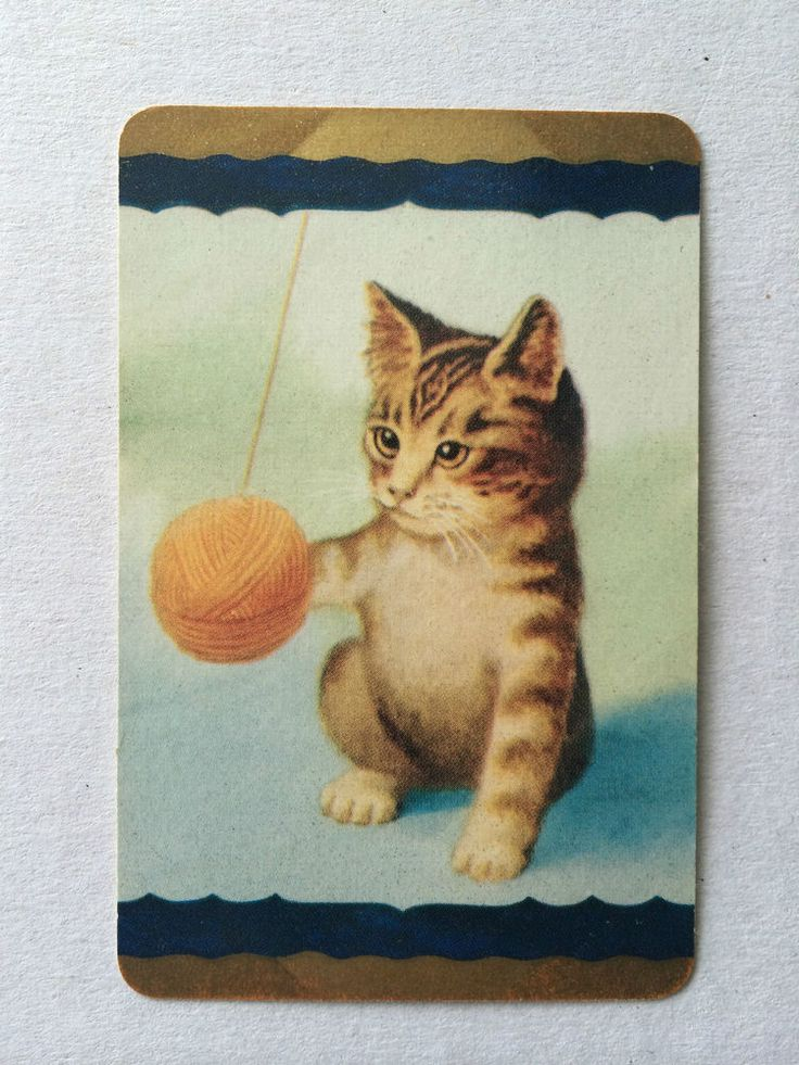 Vintage COLES Swap / Playing Card - Cute Cat Playing with Ball of Wool - GC