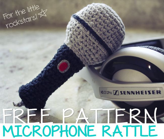 Amigurumi Microphone Rattle ~ Free English and Spanish Pattern