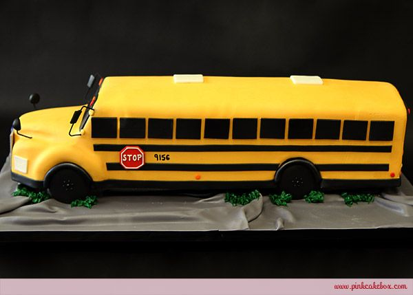 Birthday School Bus Cake by Pink Cake Box in Denville, NJ.  More photos and videos at http://blog.pinkcakebox.com/birthday-school-bus-cake-2010-12-29.htm