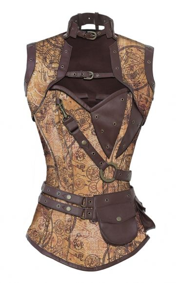 I bought this corset in black brocade w/black trim. I'm not fond of the neck collar but I think I can take that off and ... OMG the curves and cleavage this gives me! ;-)