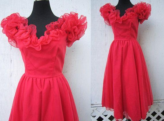 Vintage 80s Prom Dress S 1980s Red Chiffon Bridesmaid