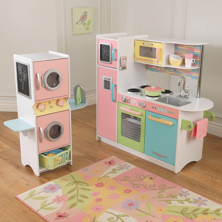 Toddler Kitchens: KidKraft Uptown Pastel Play Kitchen And Laundry Playset