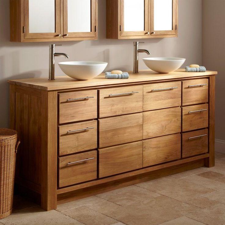 meuble salle de bain bois avec tiroirs de rangement et doubles vasques poser