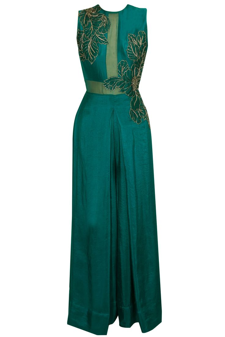 PRIYANKA PAREKH Teal leaf embroidered double layered jumpsuit available only at Pernia's Pop Up Shop.