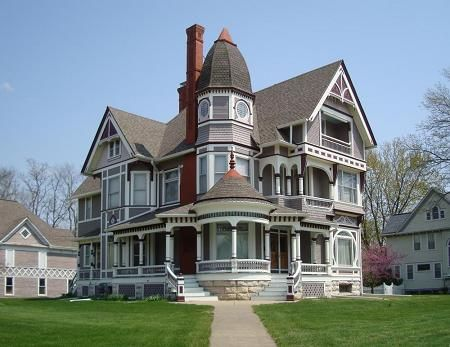 1896 Queen Anne Victorian house for sale in Fairfield, Iowa, designed by architect George Barber.  My aunt lives in Fairfield. She's eighty-two and used to tell me she was going to buy this house and turn it into a house of ill repute to be able to afford it.  When I got old enough to know what that meant, I was horrified.
