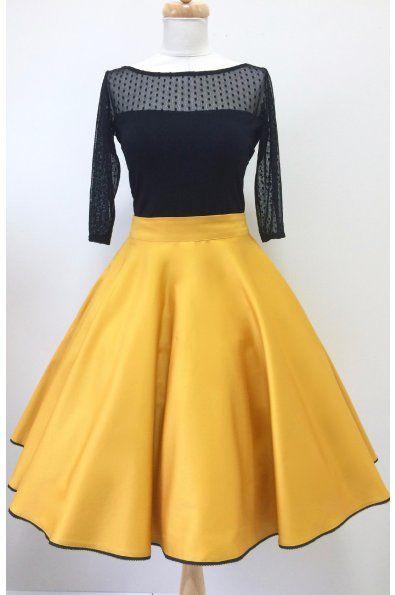 Kolová sukně hořčicová  hořčicově žlutá kolová sukně spodní lem zdobený černou krajkou kapsy v bočních švech (na přání) zapínaní na zip a potahované knoflíčky sukni vám ušijeme v konfekční velikosti 36-42, nebo na míru www.miabella.cz