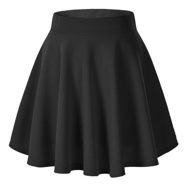 Women's Basic Solid Versatile Stretchy Flared Casual Mini Skater Skirt (€10) ❤ liked on Polyvore featuring skirts, mini skirts, black, flare skirt, flared skater skirt, skater skirt, mini skirt and stretch skirts
