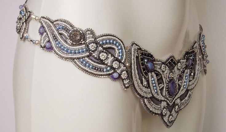 Bridal bead embroidery belt by Priscillascreations.deviantart.com on @DeviantArt