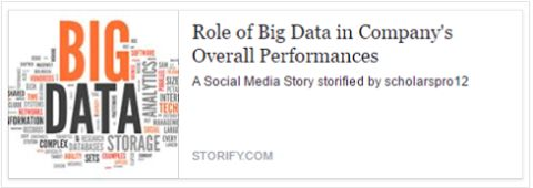 The concept, operational significance, and methodology of big data have made the world excited. These days, increasingly companies have started exploiting the power and potential of big data to increase their operating margins and eliminate errors.  To read more about this Article 'Role of Big Data in Company's Overall Performances'. https://storify.com/scholarspro12/role-of-big-data-in-company-s-overall-performances#publicize