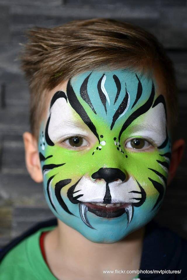 Blue green tiger. Wendy #tijger #schmink Beekhuizen/Schmink-ie.com